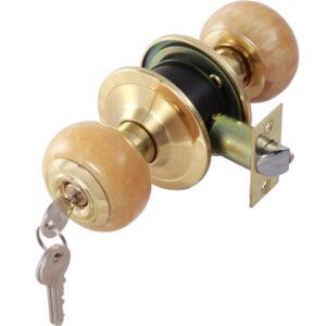 ลูกบิดประตู พร้อมแถบเรืองแสงรอบกุญแจ สีทองเหลืองเงา